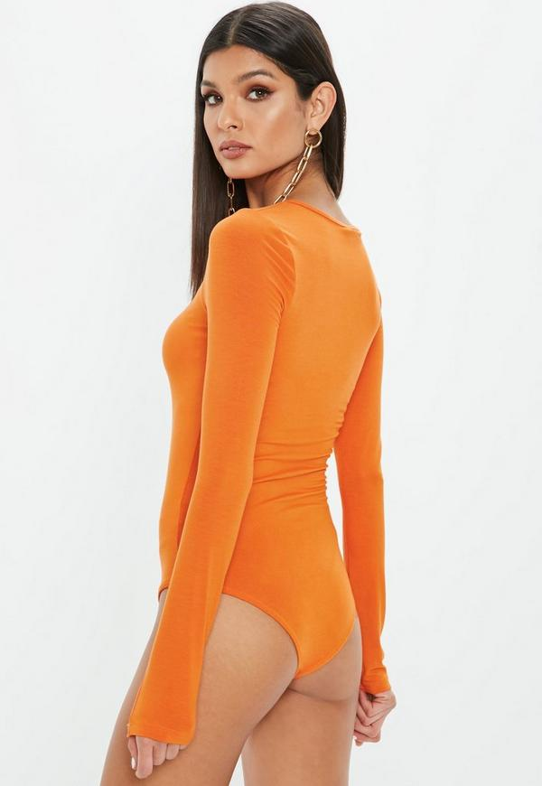 Orange Crew Neck Long Sleeve Bodysuit by Missguided