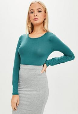 Teal Crew Neck Long Sleeve Bodysuit