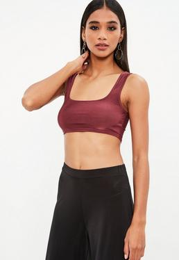 Wine Scoop Neck Slinky Bralet