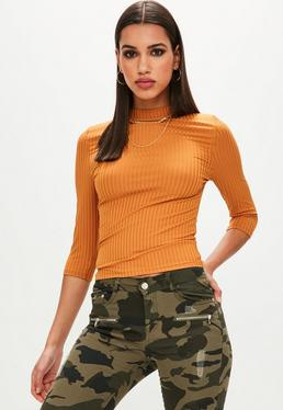 Yellow Fitted Ribbed Top