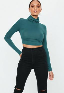 Green Roll Neck Long Sleeve Crop Top