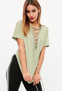Green Lace Up Front Burnout T-Shirt