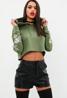 Khaki Embroidered Sleeve Cropped Hoodie