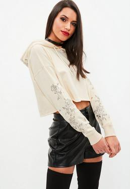 Cream Embroidered Sleeve Cropped Hoodie