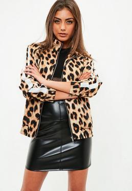Chaqueta de chándal con estampado de leopardo en marrón