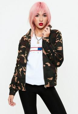 Khaki Camo Side Stripe Tracksuit Top