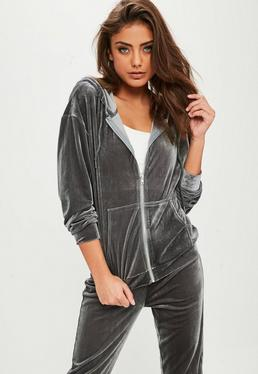 Grey Velour Tracksuit Top