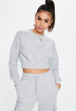Barbie x Missguided Gray Long Sleeve Cropped Sweatshirt