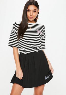 Barbie x Missguided Black & White Stripe TShirt