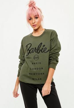 Barbie x Missguided Bluza z logo w kolorze khaki