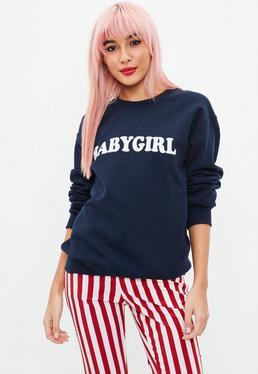 Navy Babygirl Slogan Sweatshirt