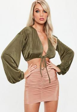 Khaki Drawstring Puff Sleeve Crop Top