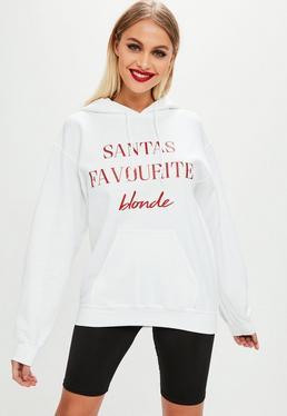 White Santa's Favourite Blonde Hoodie