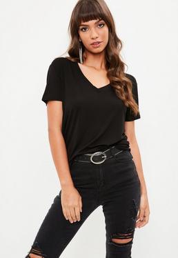 Black V Neck Boyfriend T-shirt