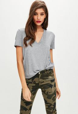 Gray V Neck Boyfriend T Shirt