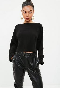 Black Long Sleeve Ribbed Lounge Boxy Crop Top