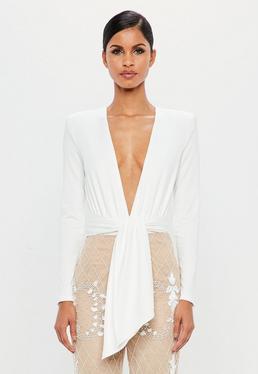 Peace + Love White Wrap Bodysuit