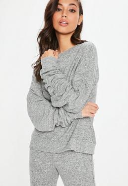 Gray Brushed Ruched Detail Sweatshirt