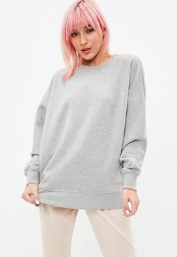 Sudadera con cuello redondo en gris