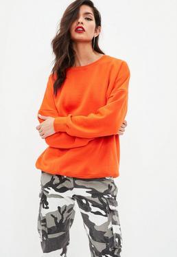 Orange Crew Neck Sweatshirt