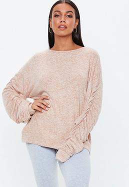 Camel Brushed Ruched Sweatshirt