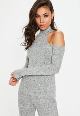 Gray Brushed Cold Shoulder Top