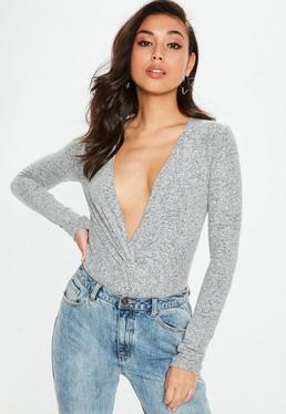 Gray Brushed Twist Front Bodysuit