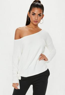 White Brushed Off Shoulder Top
