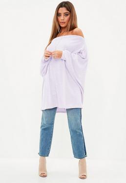 Lilac Brushed Bardot Volume Sleeve Tunic