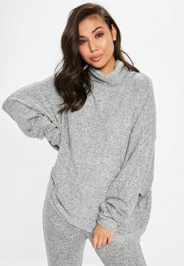 Gray Brushed Roll Neck Super Oversized Longline Top