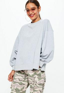 Gray Drop Shoulder Oversized Drop Hem Sweatshirt