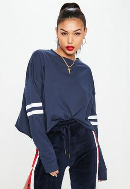 Navy Drop Shoulder Boxy Stripe Top