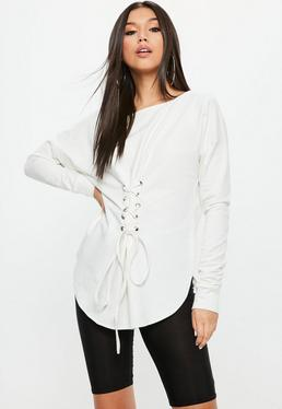 White Corset Waist Lace Up Front Tunic