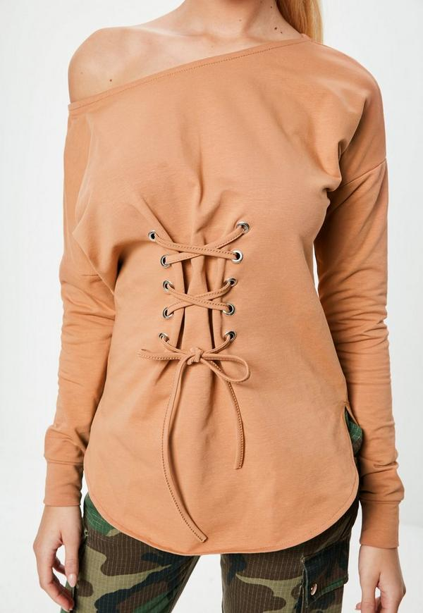 594036f4f3f9af Camel Off Shoulder Lace Up Front Tunic top. Was €30.00. Now €15.00 (50% off).  Previous Next