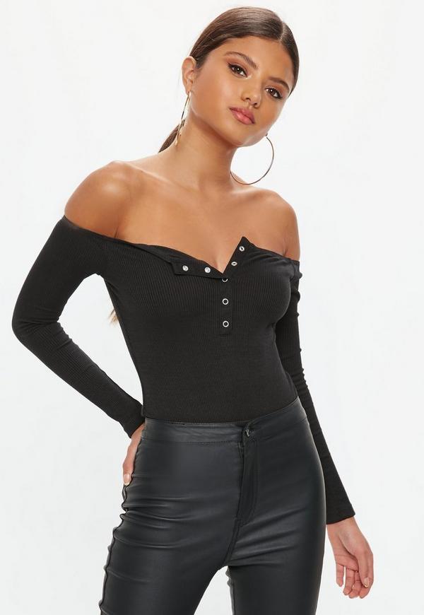1a7b139eea Black Popper Front Bardot Bodysuit