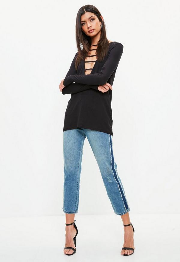 schwarzes langarmshirt mit cut out v ausschnitt missguided. Black Bedroom Furniture Sets. Home Design Ideas