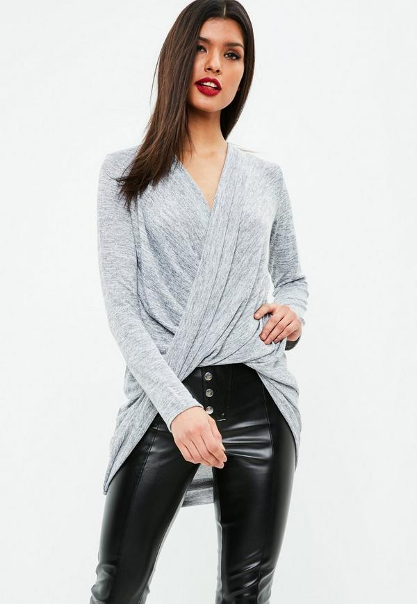 Gray Casual Sexy Drape Twist Front Tunic by Missguided
