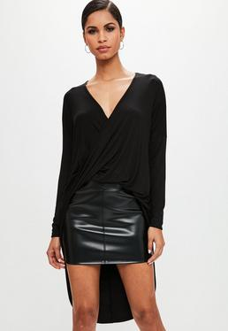 Black Drape Twist Front Long Sleeve Tunic Top