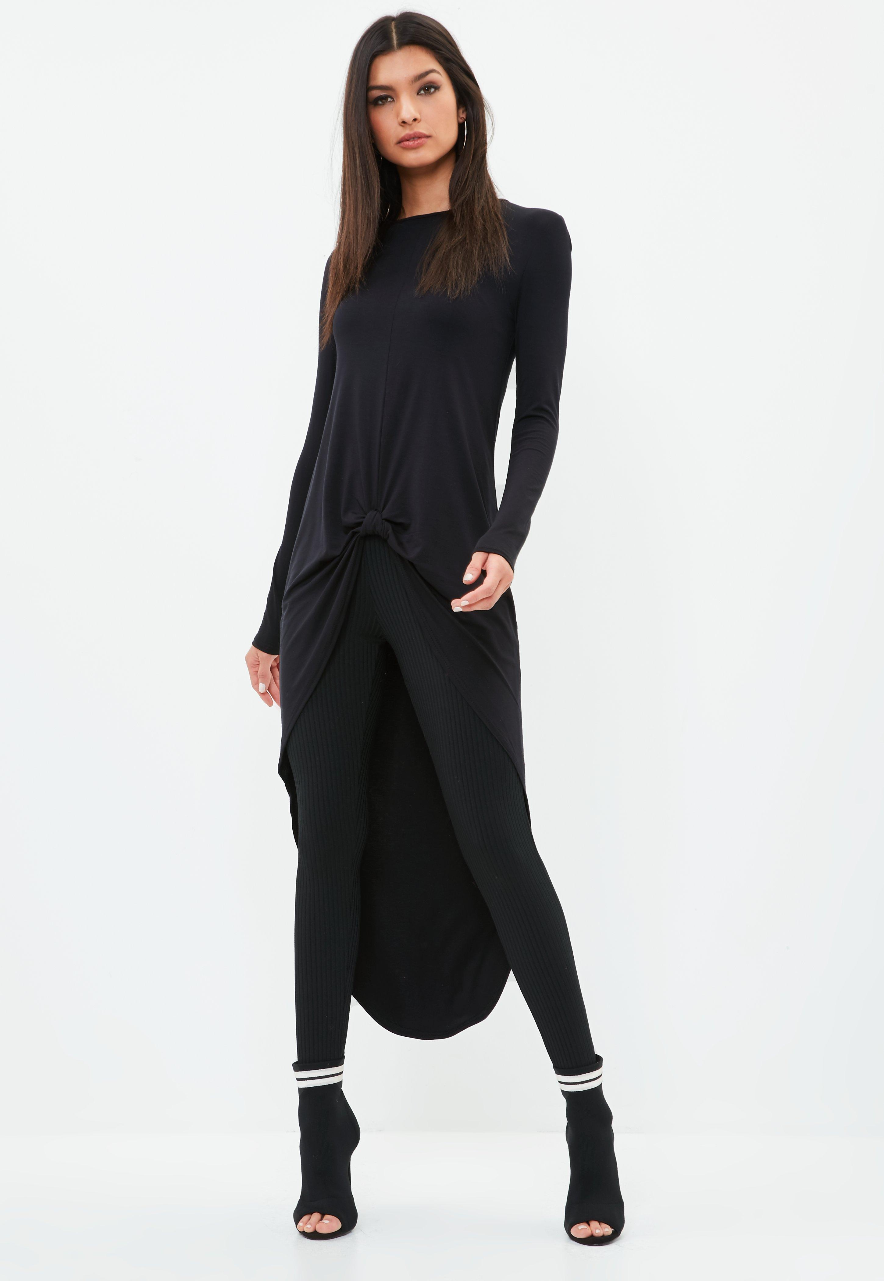 Wide Range Of For Sale Supply Missguided Knot Front Long Sleeve Tunic Buy Cheap Eastbay 8CTAPu0oxQ
