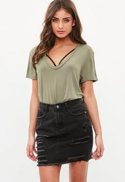 Khaki V Neck Boyfriend T Shirt