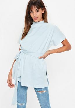 Blue Split Side Tunic Top