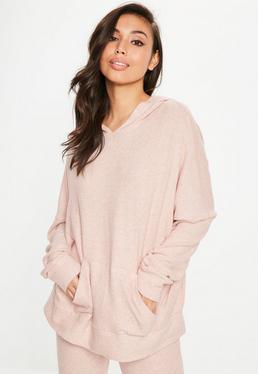 Sudadera de punto con capucha en rosa