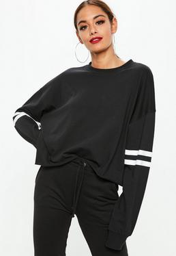Black Drop Shoulder Boxy Stripe Top
