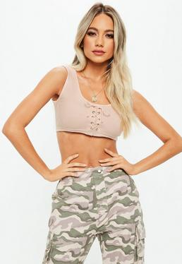 Pink Lace Up Front Scoop Neck Bralette