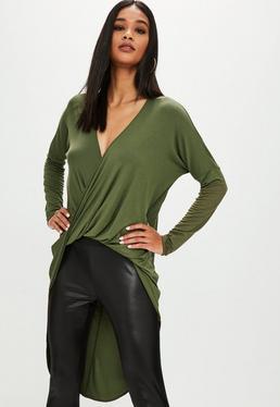 Khaki Drape Twist Front Long Sleeve Tunic Top