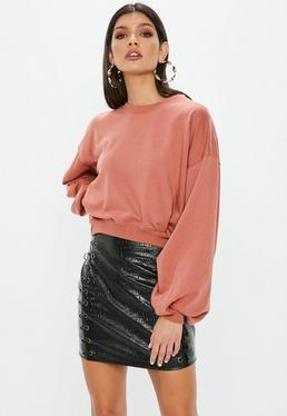 Pink Ruched Sleeve Sweatshirt