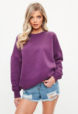 Fioletowa owersajzowa bluza