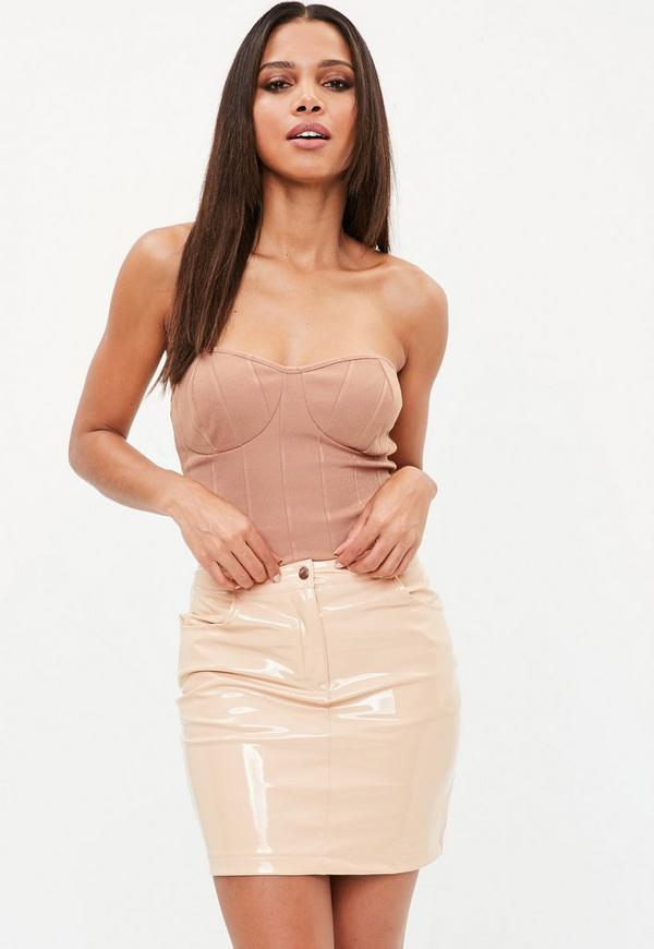 c0b0f925fc Camel Ribbed Strapless Top