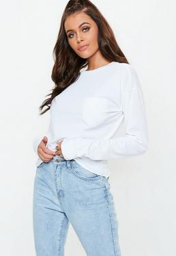 White Long Sleeve Boxy Pocket Top