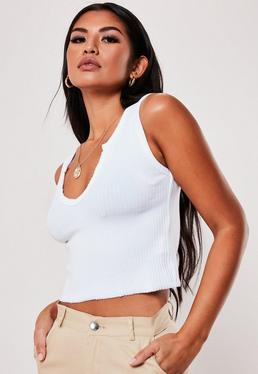 65e3c6bbeaf804 White Notch Neck Sleeveless Crop Top